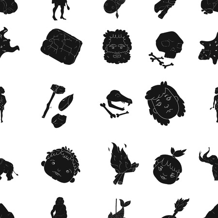 bearskin: Stone age pattern icons in black style. Big collection of stone age vector symbol stock illustration