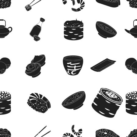tetsubin: Sushi pattern icons in black style. Big collection of sushi vector symbol stock illustration