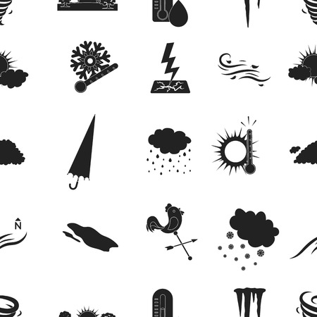 wind vane: Weather pattern icons in black style. Big collection of weather vector symbol stock illustration