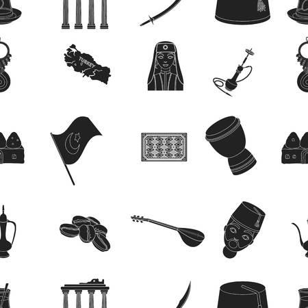 saz: Turkey pattern icons in black style. Big collection of Turkey vector symbol stock illustration Stock Photo