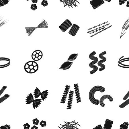 Types of pasta pattern icons in black style. Big collection of types of pasta vector symbol stock illustration Stock Illustration - 68921501