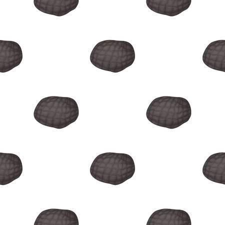 expensive food: Black truffles icon in cartoon style isolated on white background. Mushroom pattern stock vector illustration.