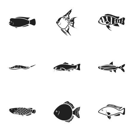 cichlid: Aquarium fish set icons in black style. Big collection of aquarium fish vector symbol stock illustration Illustration