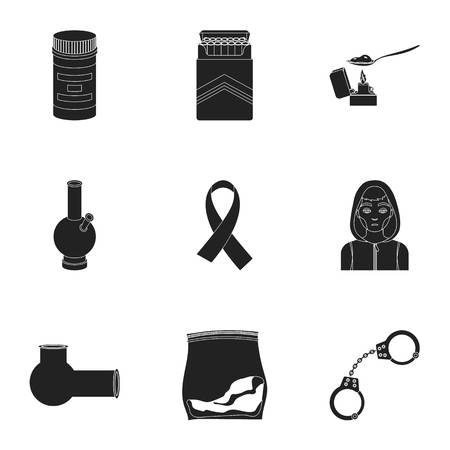 opium poppy: Drugs set icons in black style. Big collection of drugs vector symbol stock illustration