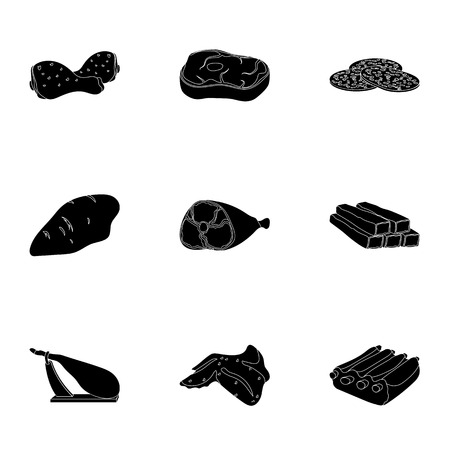 carnes: Meats set icons in black style. Big collection of meats vector symbol stock illustration Vectores