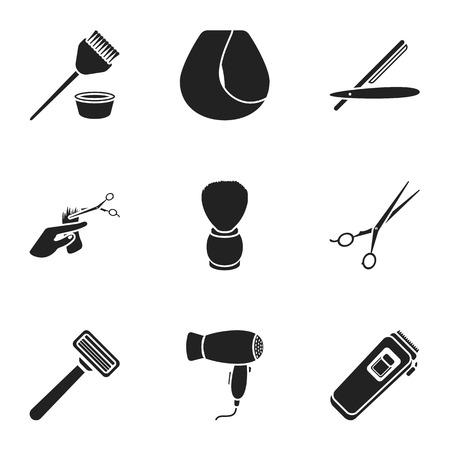 curler: Hairdresser set icons in black style. Big collection of hairdresser vector symbol stock illustration Illustration