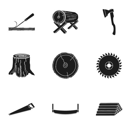 Sawmil and timber set icons in black style. Big collection of sawmill and timber vector symbol stock illustration