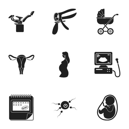 gynecologic: Pregnancy set icons in black style. Big collection of pregnancy vector symbol stock illustration