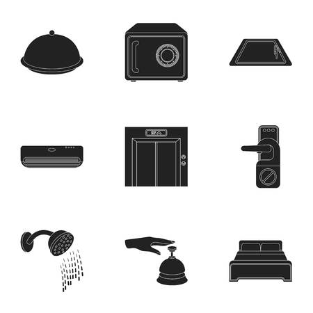 minibar: Hotel set icons in black style. Big collection of hotel vector symbol stock illustration