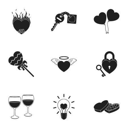 Romántico conjunto de iconos en estilo negro. Gran colección de ilustración stock símbolo romántico vector
