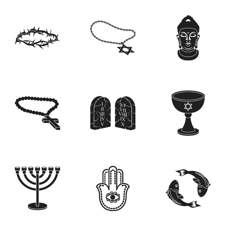 niqab: Religion set icons in black style. Big collection of religion vector symbol stock illustration