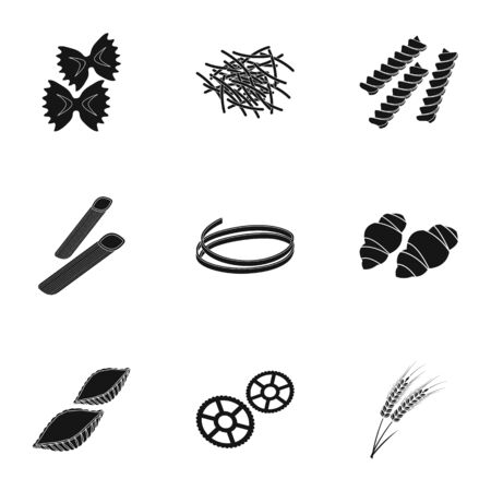 Types of pasta set icons in black style. Big collection of types of pasta vector symbol stock illustration