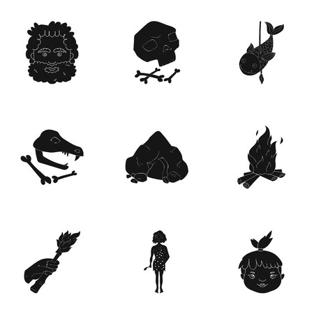 edad de piedra: Stone age set icons in black style. Big collection of stone age vector symbol stock illustration