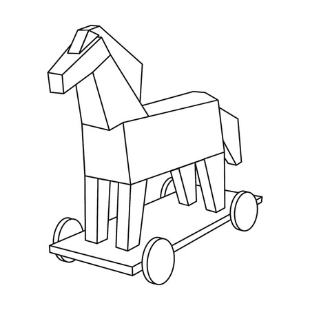 Trojan horse icon in outline style isolated on white background. Hackers and hacking symbol stock vector illustration. Illustration