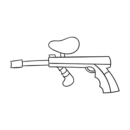 war paint: Paintball gun icon in outline style isolated on white background. Paintball symbol stock vector illustration. Illustration