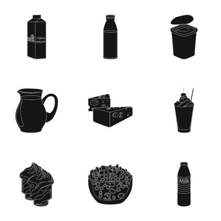 Milk product and sweet set icons in black style. Big collection of milk product and sweet vector symbol stock illustration Illustration