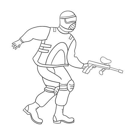 paintball: Paintball player icon in outline style isolated on white background. Paintball symbol stock vector illustration.