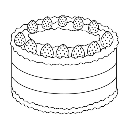strawberry cake: Strawberry cake icon in outline style isolated on white background. Cakes symbol stock vector illustration. Illustration