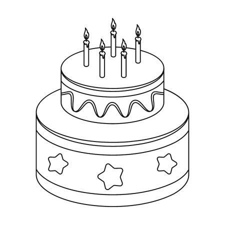 Chocolate cake with stars icon in outline style isolated on white background. Cakes symbol stock vector illustration.