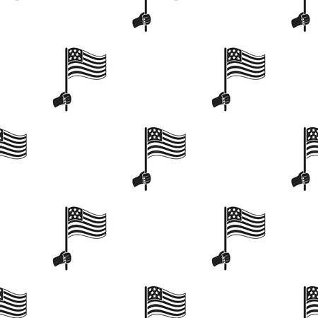 black american: American flag icon in black style isolated on white background. Patriot day pattern stock vector illustration.