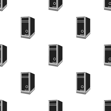 System unit icon in black style isolated on white background. Personal computer pattern stock vector illustration. Illustration