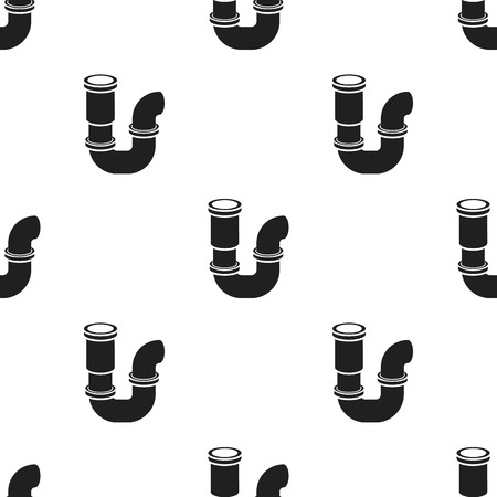 drainage: Plumbing trap icon in black style isolated on white background. Plumbing pattern stock vector illustration. Illustration