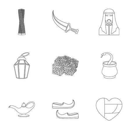 Arab Emirates set icons in outline style. Big collection of Arab Emirates vector symbol stock illustration Illustration