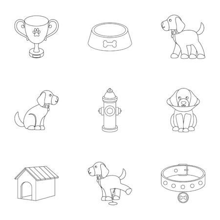 Dog equipment set icons in outline style. Big collection dog equipment vector symbol stock illustration