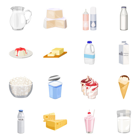 Milk product and sweet set icons in cartoon style. Big collection of milk product and sweet vector symbol stock illustration Illustration