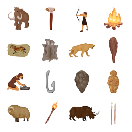 truncheon: Stone age set icons in cartoon style. Big collection of stone age vector symbol stock illustration