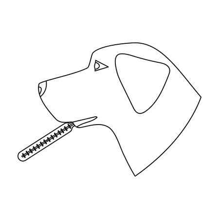 Dog with thermometer icon in outline style isolated on white background. Veterinary clinic symbol stock vector illustration. Illustration