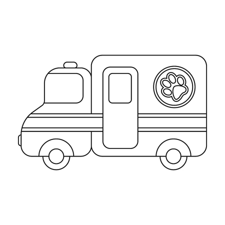car care center: Veterinary ambulance icon in outline style isolated on white background. Veterinary clinic symbol stock vector illustration.