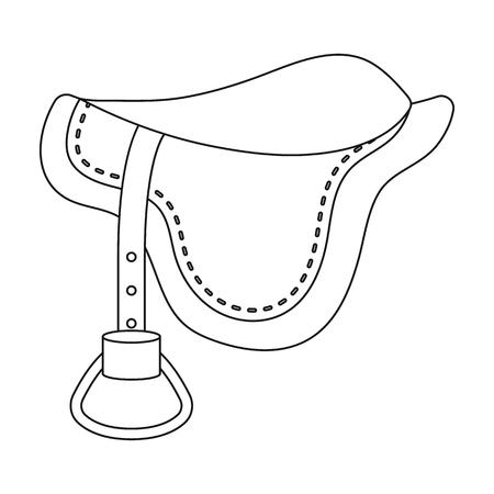 stirrup: Saddle icon in outline style isolated on white background. Hippodrome and horse symbol stock vector illustration. Illustration