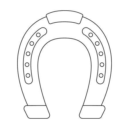 Horseshoe icon in outline style isolated on white background. Hippodrome and horse symbol stock vector illustration.