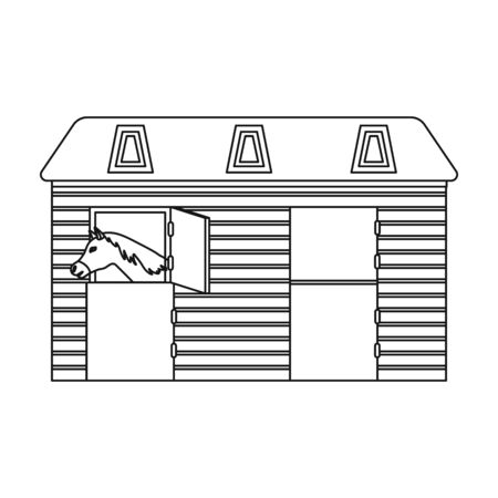 horse stable: Horse stable icon in outline style isolated on white background. Hippodrome and horse symbol stock vector illustration. Illustration