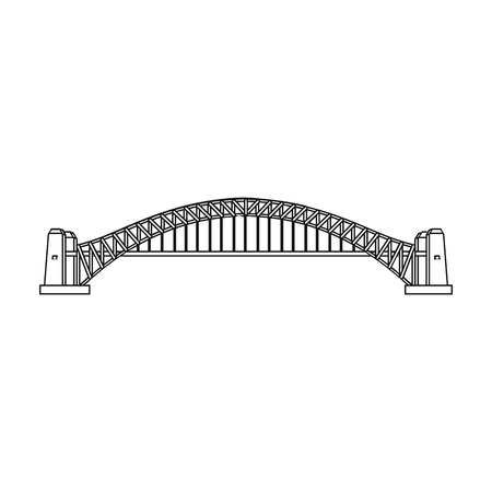 harbor: Sydney Harbour Bridge icon in outline style isolated on white background. Australia symbol stock vector illustration.