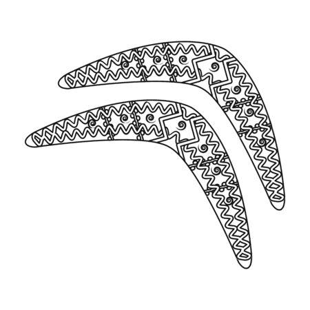 Australian boomerang icon in outline style isolated on white background. Australia symbol stock vector illustration. Illustration