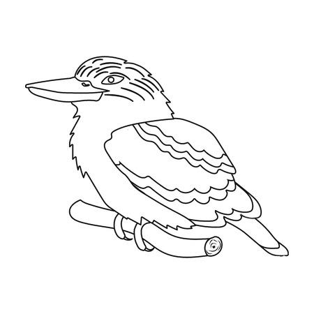 Kookaburra sitting on branch icon in outline style isolated on white background. Australia symbol stock vector illustration.
