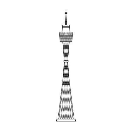sydney skyline: Sydney Tower icon in outline style isolated on white background. Australia symbol stock vector illustration.