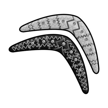 Australian boomerang icon in monochrome style isolated on white background. Australia symbol stock vector illustration.