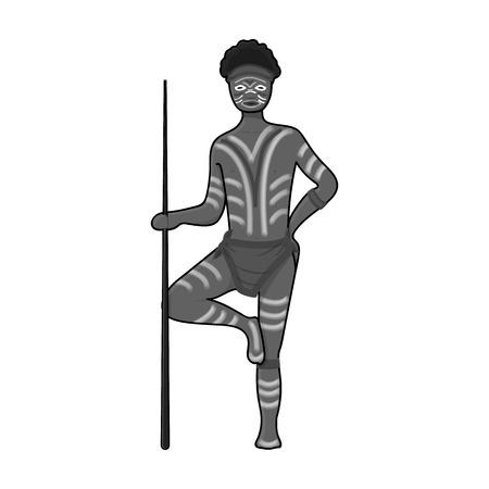 Astralian aborigine icon in monochrome style isolated on white background. Australia symbol stock vector illustration.