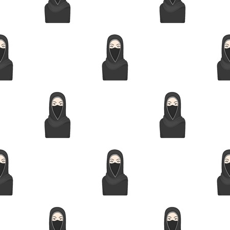 niqab: Niqab icon in cartoon style isolated on white background. Religion pattern stock vector illustration.