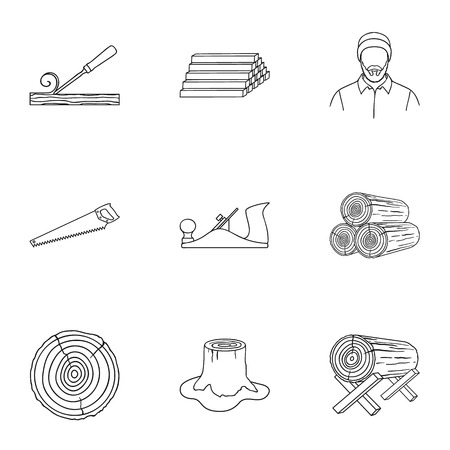 log on: Sawmil and timber set icons in outline style. Big collection of sawmill and timber vector symbol stock illustration Illustration