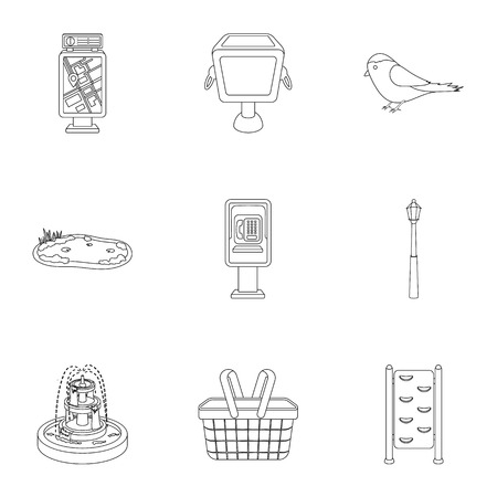 parus: Park set icons in outline style. Big collection of park vector symbol stock illustration Illustration