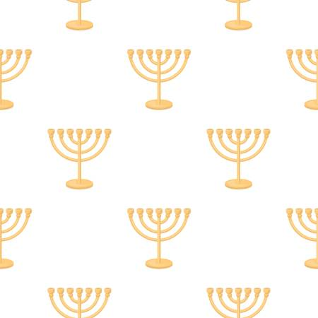 Menorah icon in cartoon style isolated on white background. Religion pattern stock vector illustration.