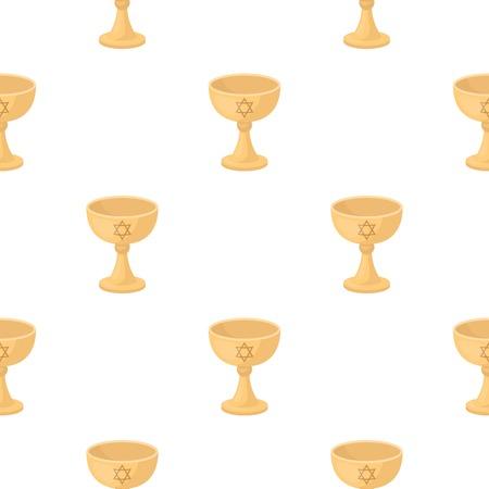 shabat: icono de la taza de vino en estilo de dibujos animados aislado en el fondo blanco. patrón de la religión ilustración stock de vectores.
