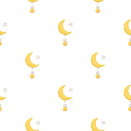 Crescent and Star icon in cartoon style isolated on white background. Religion pattern stock vector illustration. Illustration