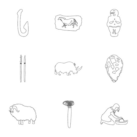 truncheon: Stone age set icons in outline style. Big collection of stone age vector symbol stock illustration