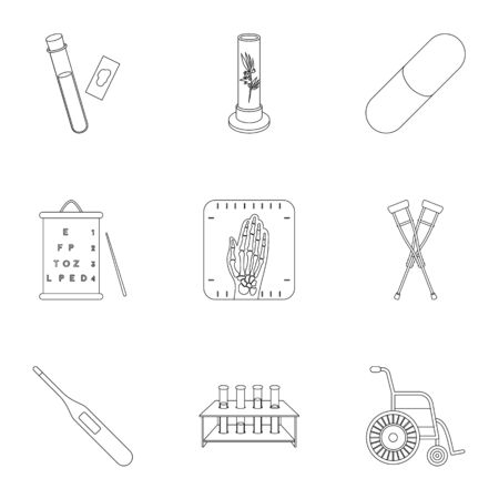 xray machine: Medicine and hospital set icons in outline style. Big collection of medicine and hospital vector symbol stock illustration