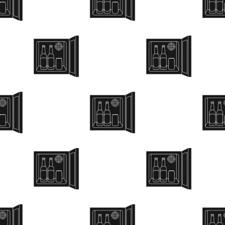 mini bar: Mini-bar icon in black style isolated on white background. Kitchen pattern stock vector illustration.